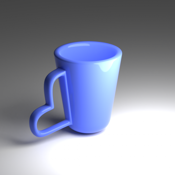 Blue Cup with Heart Handle